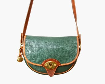 Vintage 90s DOONEY & BOURKE Awl Leather Cavalry PURSE / 1990s Green and Brown Crossbody Flap Bag