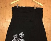 Upcycled Knee Length Jersey Bicycle Skirt in Black Size L