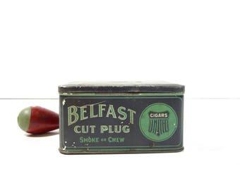 Vintage Belfast Cigar Tin Box / Tobacco Advertising Tin / Rustic Storage