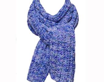 Hand Knit Scarf - Bachelor Button Blue Trail Ridge Rib Wool