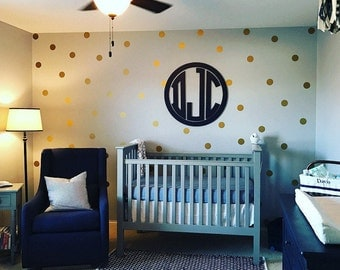 Peel and Stick Metallic Gold Polka Dot Wall Decals - For Nursery - Wall Stickers - Kids Room - Wall Decal - Apartment Safe