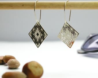 "NEW handcrafted earrings ""indian summer"" in solid silver boho chic ethnic chic style thin jewel geometric shapes aztec pattern"