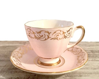 Vintage Colclough Tea Cup and Saucer, Sweet Pink and Gold Scroll, Valentine's Day Tea, Pretty Afternoon Teacup, Bone China, Made in England