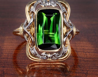 2.50 Carat Green Tourmaline and Diamond Ring - Green Tourmaline, Diamond, Size 9 Ring, Engagement Ring, Cocktail Ring, Estate Ring