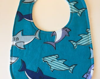 Sale - Shark Baby Bib - Shark Bib - Shark Drool Bib - Shark Week - READY TO SHIP