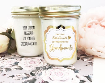 Grandparents Gift from Baby - Grandparents Pregnancy Announcement Only the Best Parents Get Promoted To Grandparents Gift Candle (EB3178FB)