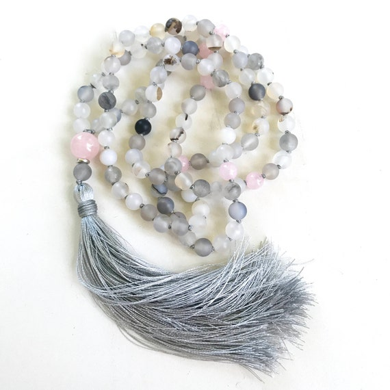 Wind Shadow Agate Mala Beads, Rose Quartz, Mala for Inner Peace, 108 Bead Mala, Hand Knotted With Silk Tassel, Mantra Mala, Meditation Beads