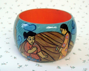 "Hand Painted Wooden Bangle Bracelet ""Taro"" - Orange/Blue Bracelet, Gift For Her, Деревянный браслет с росписью ""Таро"""