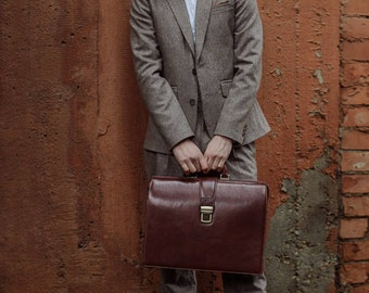 Leather Briefcase Men, Leather Brown Briefcase Lawyer bag for men,Leather Doctor Bag, Mens Vintage Briefcase - The Firm