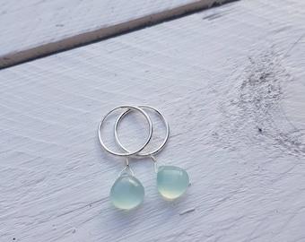 Aqua Blue Chalcedony Gemstone Hoop Earrings