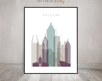 Atlanta Wall Art Print Atlanta Skyline Poster | ArtPrintsVicky.com