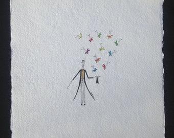 Magician and Butterflies. Original watercolor. Mujerlaberinto. Manu.