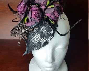 Purple Rose Fascinator *Gothic Inspired/Roses/Bridal/Photoshoot/Vintage/Feathers/Lace