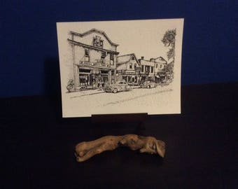 Digital print - 1940s village of Angola NY. Drawing is created from pen and ink in 1999. Digital print