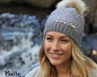 Women hat ARTIC, winter women hat, grey and white, Tunisian crochet hook, adult size
