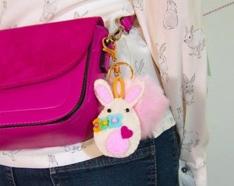 Easter Pompom Key Chain, Easter Bunny Felt Key Chain, Handbag Pompom, Bag Charm, Cute Bunny Felt Pompom, Bunny Key chain