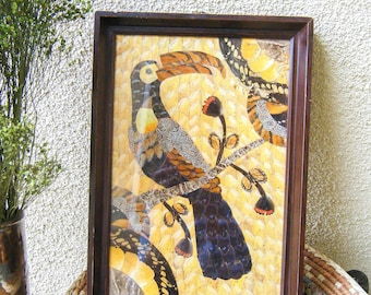 Unique Toucan Art Made Of Butterfly Wings, Vintage Art, Framed Art, Brazil, Handmade, Butterfly Wing Art, Insect Art, Eclectic Home Decor