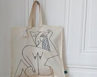 Pom Pom, Illustration tote bag front and trimming back