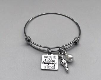 Dance Charm Bangle, Dance Charm Bracelet, Ballet Charm Bracelet, Ballerina Bracelet, Dancer Bracelet, Dance Jewelry, Dance Teacher Gift