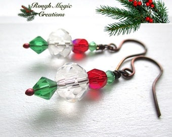 Crystal Earrings, Christmas Jewelry, Red Green Icy Clear Dangles, Festive Holiday Colors, Antiqued Copper Wire, Colorful Gift for Women E237