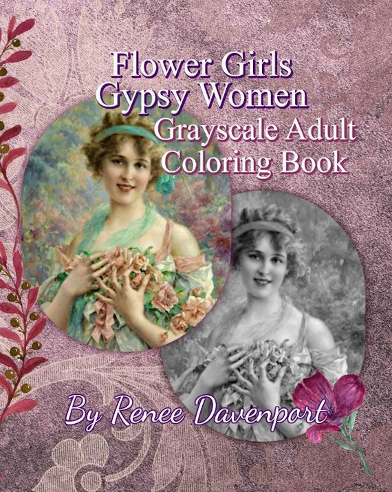 Flower Girls Gypsy Women Grayscale Adult Coloring Book PDF Instant Download 30 Pages