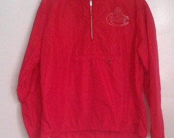 Vintage 1960's RARE Culver Military Academy Champion Red Nylon Pullover Windbreaker Jacket Sz Med Preppy WASP Athletic