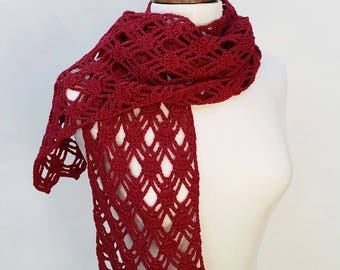 Red lacy scarf, crochet scarf in merino and silk, women's scarf, autumn scarf, winter scarf, gift for her
