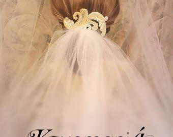 Chapel Veil / Something Blue Hair Comb / Fingertip Length Bridal Veil / Cathedral Veil / Trendy Wedding Veils / Elbow Bridal Veil