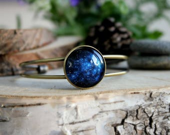 Star Night Space Bracelet, Antique Bronze Bracelet, Galaxy Jewelry, Space Jewelry