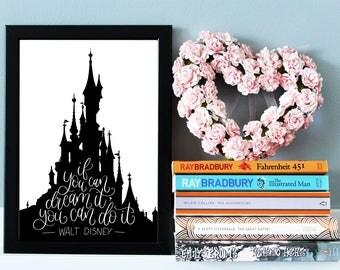 Walt Disney Quote Print - Disney Gift - Disney Print - Disney Quote - Nursery Wall Art - Nursery Print - Inspirational Quote