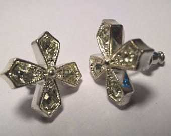 Clear Crystal Sterling Silver Stud Earrings / Criss Cross X / 1990s / Vintage / Estate Jewelry /
