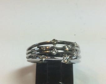 10K White Gold Multi Diamnd Bypass Ring