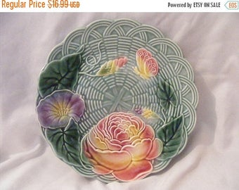 Store Wide Sale Vintage Genevieve Letha Majolica Plate with floral pattern
