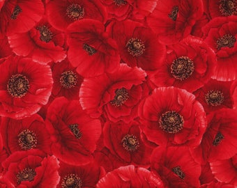 BTY Packed RED POPPIES Floral Print 100% Cotton Quilt Crafting Hi Fashion Fabric by the Yard