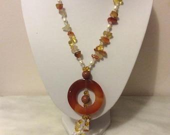 Vintage carnelian stone tassel flapper gemstone necklace