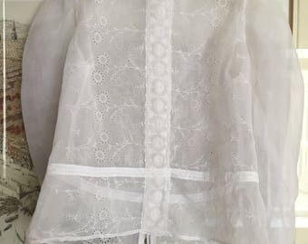 Antique 1900 Victorian style Blouse Embroidered Organdi French Lace Embroidered Tulle  1970s handcrafted for wedding Special occasion Party