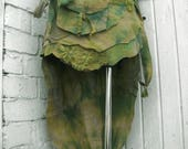 Tie dye Forest green Hippy Tattered skirt low high Nymphs Pixie skirt Fairy Woodland wrapped cotton skirt OOAK one size 8292cm 3237