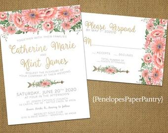 Romantic Rustic Summer Wedding Invitation,White,Blush,Pink Gerber Daisies,Floral  Arrow