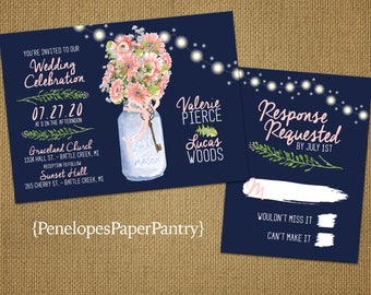 romantic rustic navy summer wedding invitationmason jarfairy lightsnavy blue - Daisy Wedding Invitations