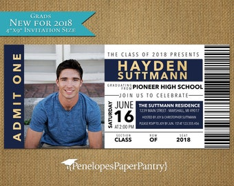 Concert Ticket,Graduation Party,Photo Invitation,Photo Announcement,Navy,Gold,High School,College,2018,Personalize,Printed Cards,Envelopes