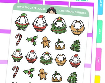 Christmas Bunnies / Planner Stickers