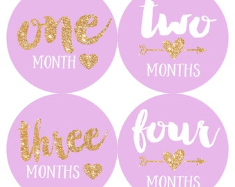 Baby Monthly Milestone Stickers Baby Girl Month by Month Sticker Baby Shower Gift First Year Belly Stickers 12 Months Gold Glitter Hearts