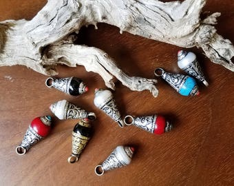 Silver Capped Stone and Pearl Beads -Bali Tibetan Nepalese Silver Capped Bead  Jewelry Supply
