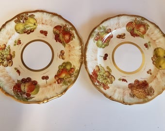 pair of hammersley autumn gold dinner plates decorated with fruits and nuts signed d