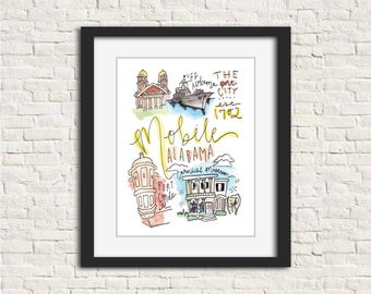 Mobile, Alabama Watercolor Handlettered Wall Art Print 8x10 in.