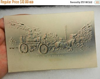 Summer Sale Vintage Going to the Fire Embossed Post Card
