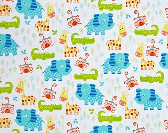 Swingin' Safari Animal Allover White/Multi Fabric by Diane Eichler  for Henry Glass Fabrics #3691-1