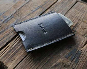 The Jefferson Personalized Fine Leather Credit Card Holder Wallet in Black
