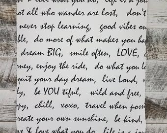 Modern Black and White Dream Big Smile Love Script Quote Peel & Stick Wallpaper RMK9005RL - Sold by the Yard