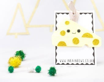 Cheese decoration, cheese decoration, glitter decoration, bauble, christmas ornament